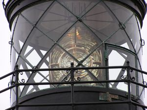 Point Cabrillo 7: the Fresnel lens of the Point Cabrillo lighthouse -- June 2004: photo by Sienna