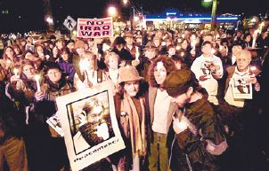 Global Vigil for Peace in Olympia, Washington -- joined by friends of Rachel Corrie