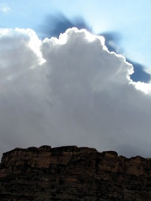 cloud light -- photo by Sienna M Potts, Green River, Canyonlands, Utah, 27 September 2005